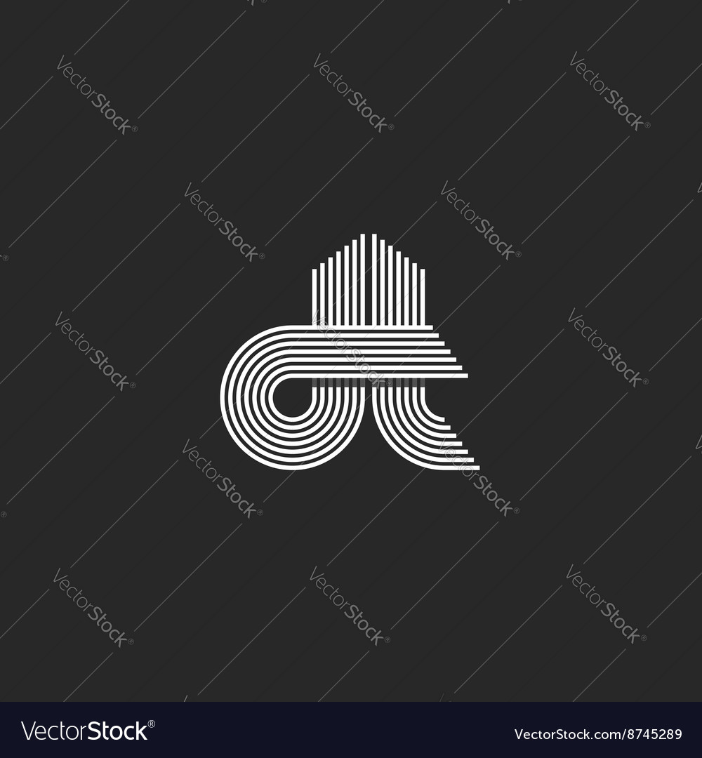 monogram couple letters dt logo hipster wedding vector image