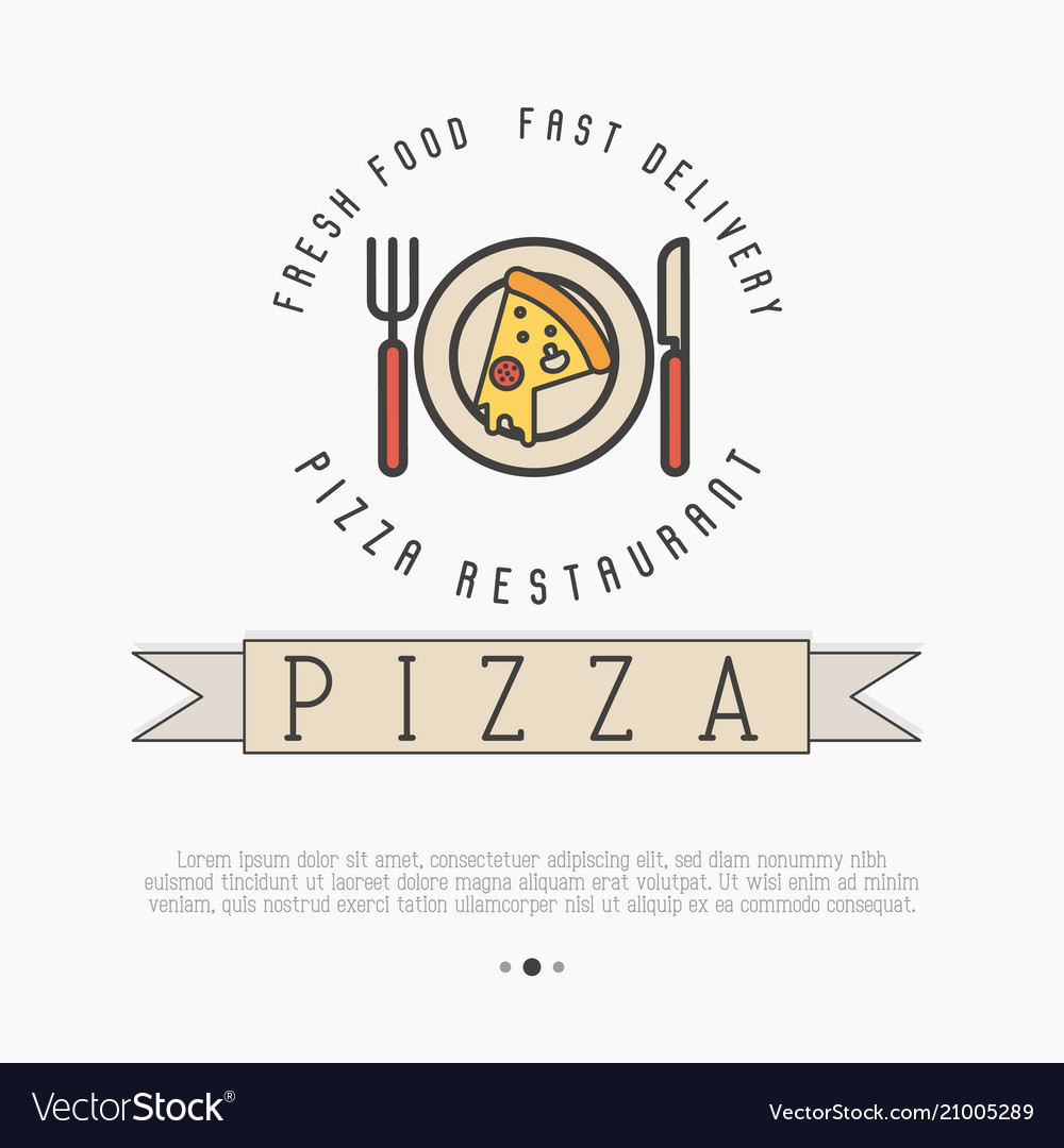 Pizza logo with thin line icons of plate knif