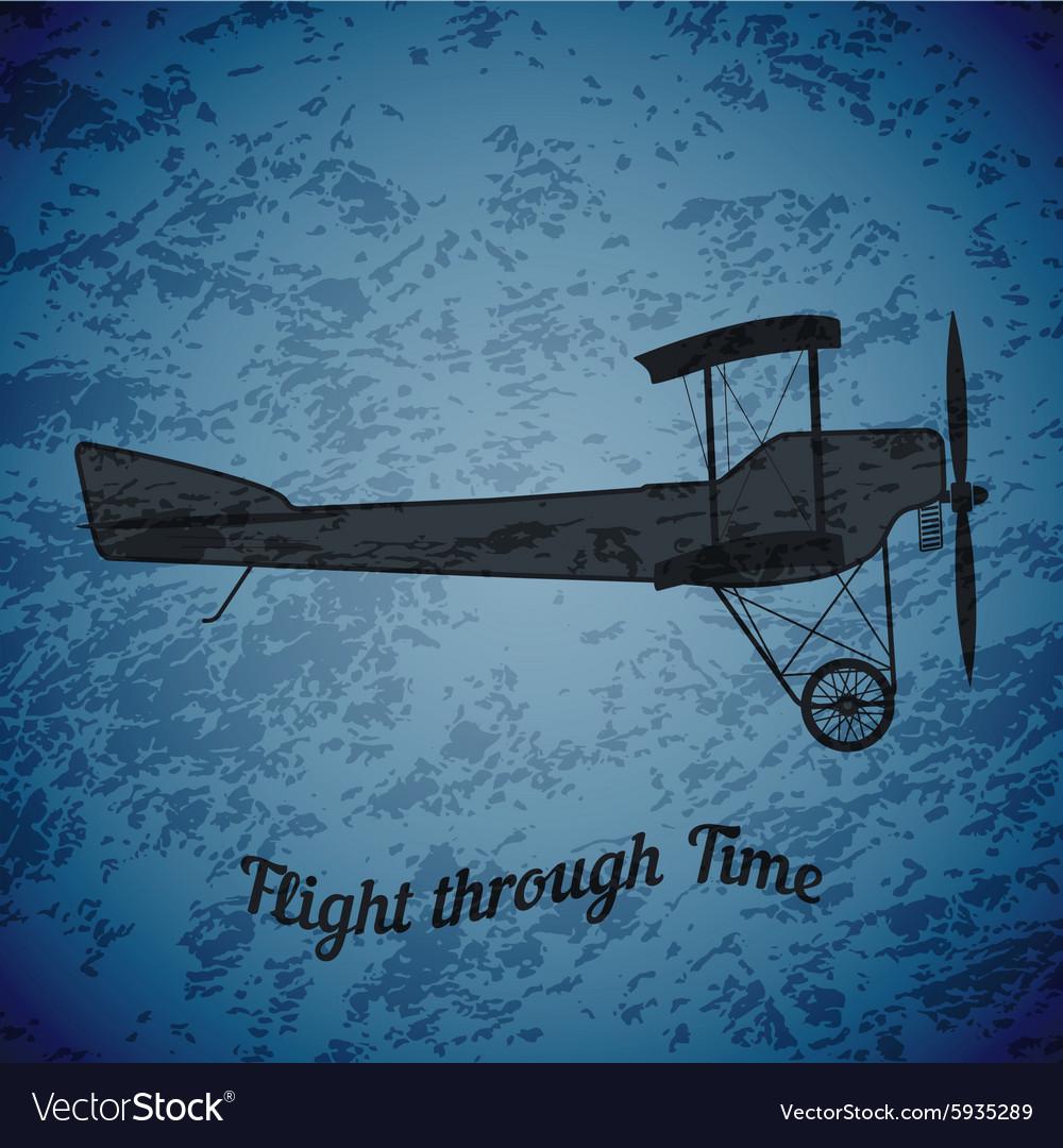 Retro airplane on blue grunge background