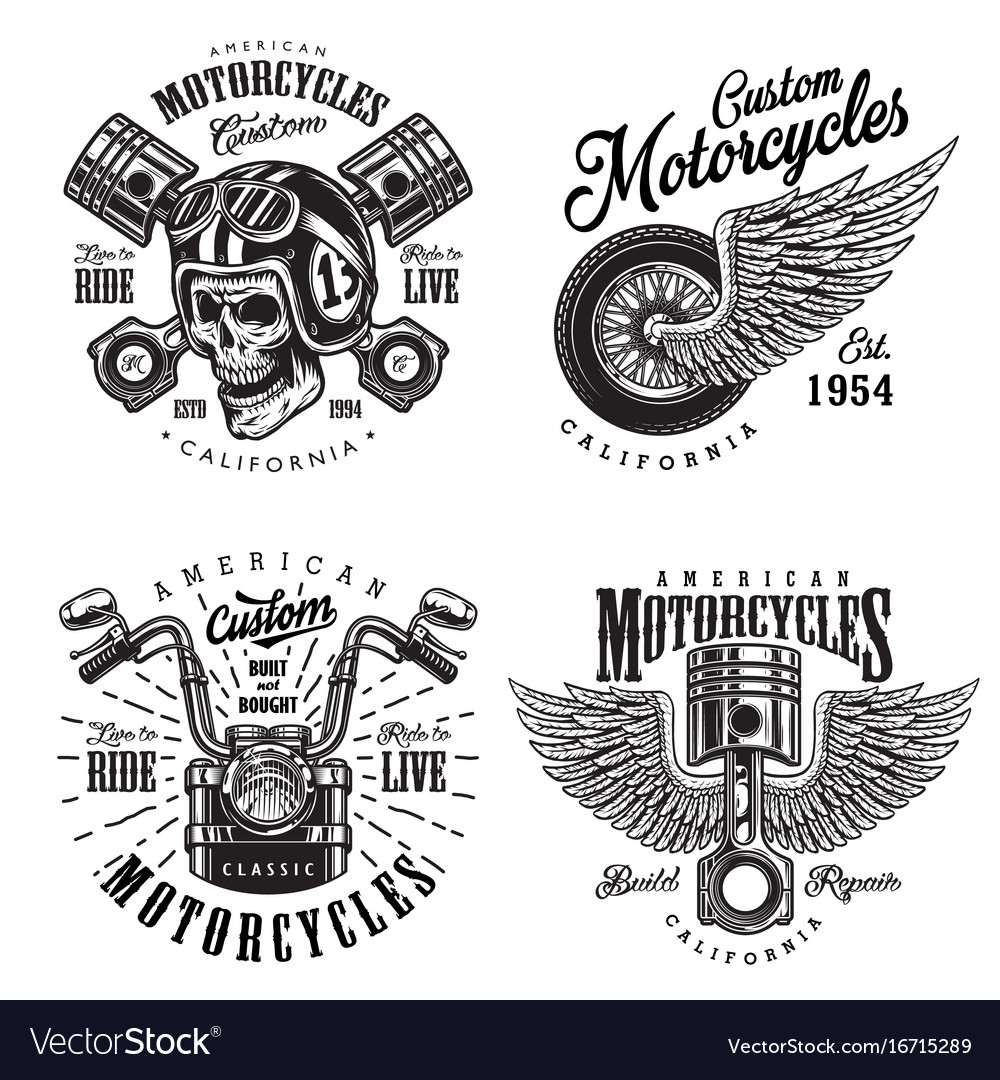 Set custom motorcycle emblems
