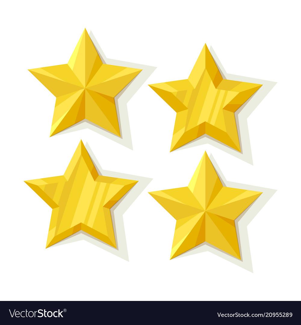 Set of flat metallic golden stars