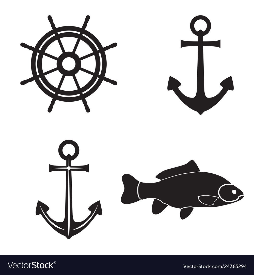 Black silhouettes of an anchor fish and steering