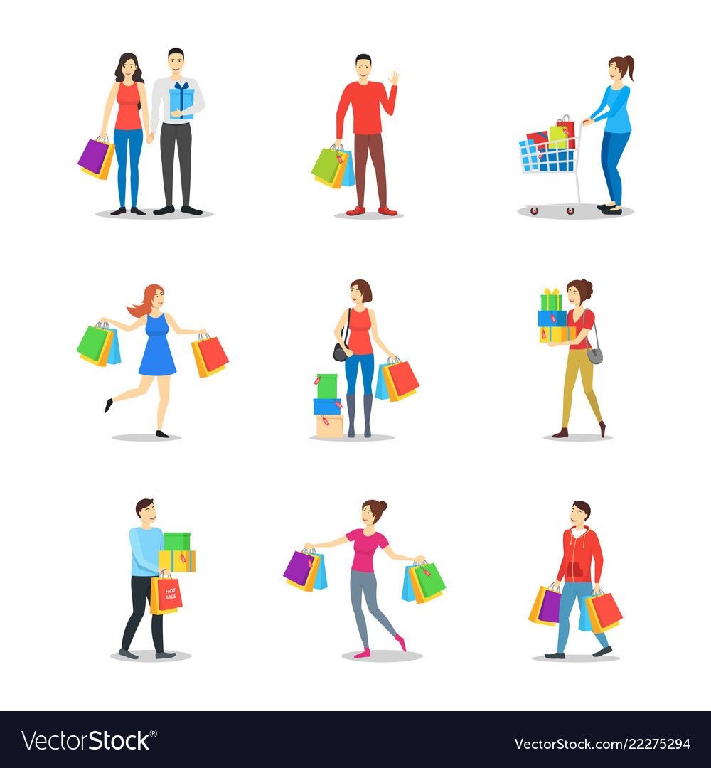 Cartoon characters different shopping people set