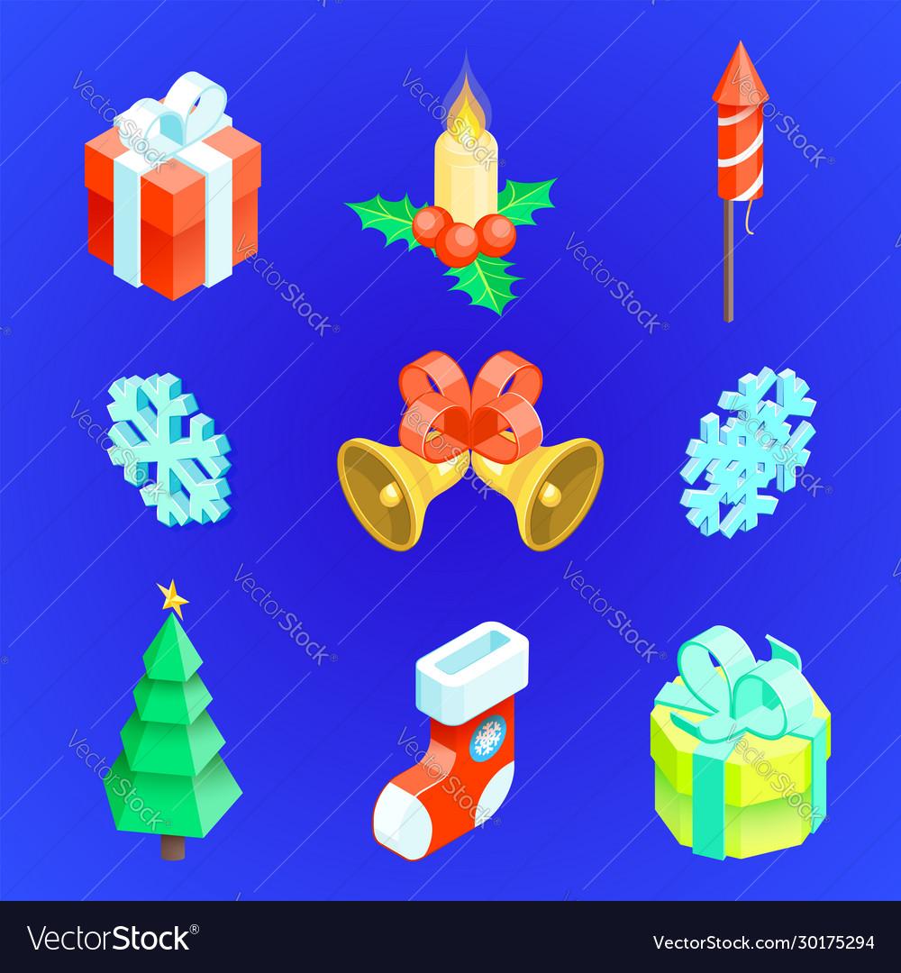 Christmas new year icons set