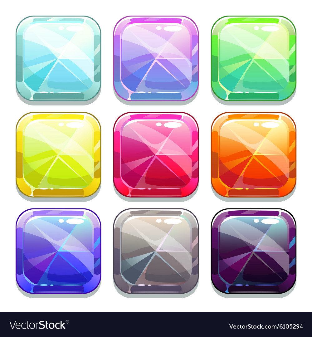 Colorful crystal square buttons