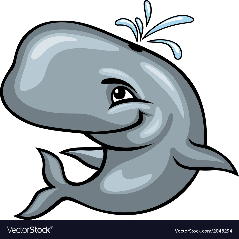 Cute sperm whale vector image