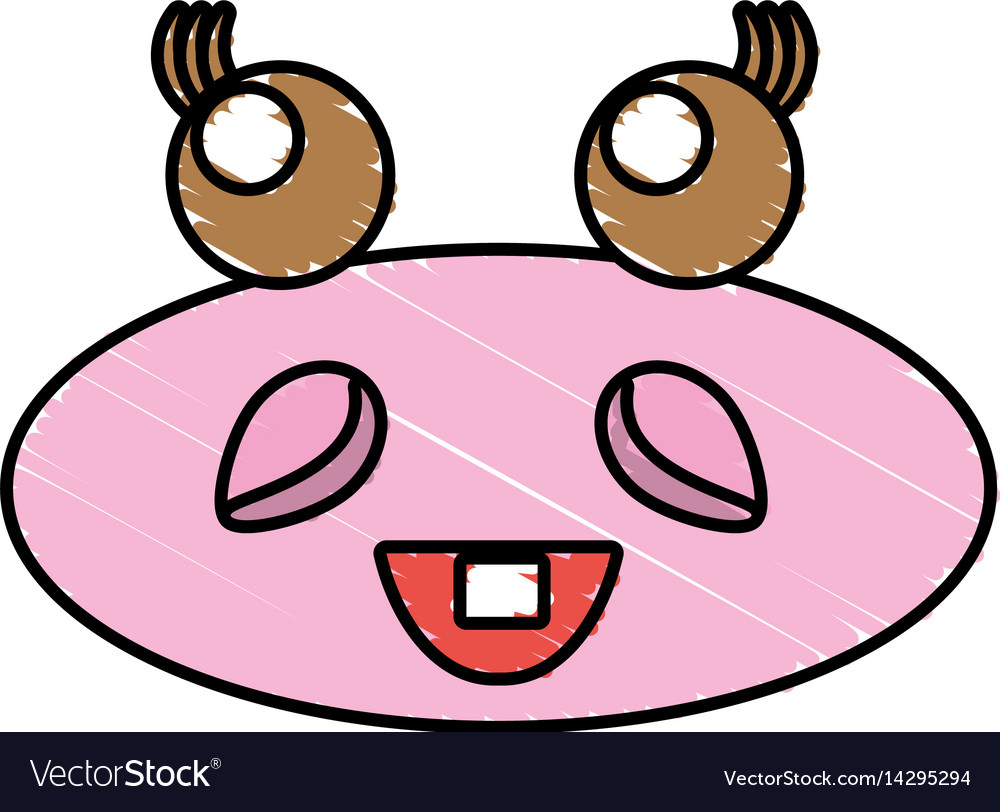 Drawing hippo kawaii face animal vector image