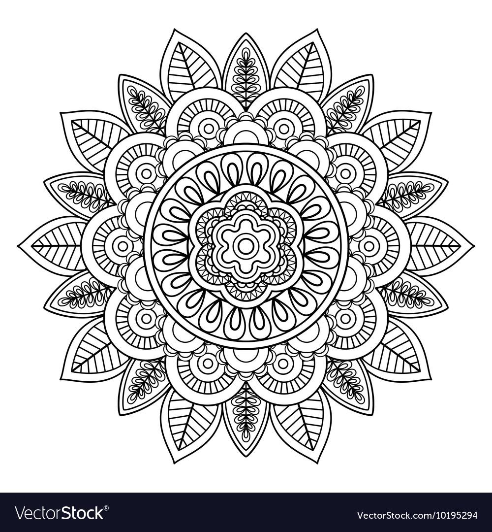 Ethnic boho doodle floral mandala