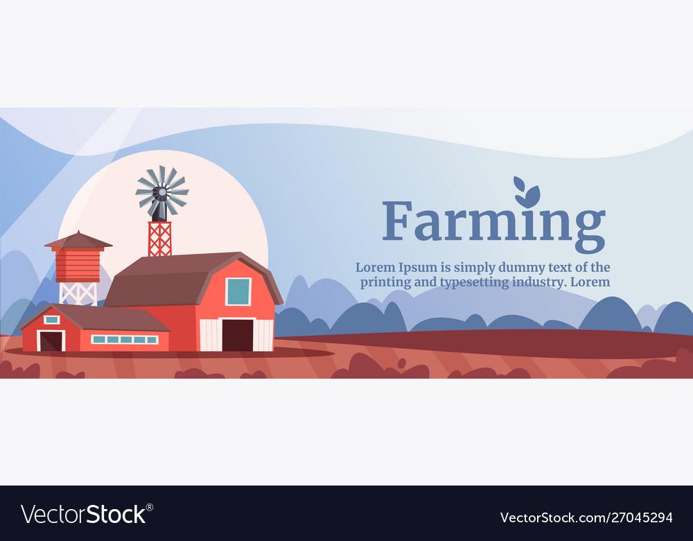 Farming flat banner template