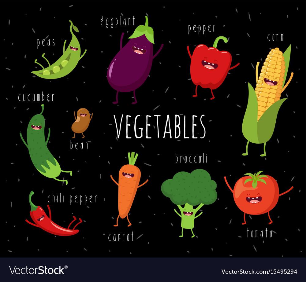 Wondrous Funny Various Cartoon Vegetables Clip Art Vector Image On Vectorstock Interior Design Ideas Pimpapslepicentreinfo