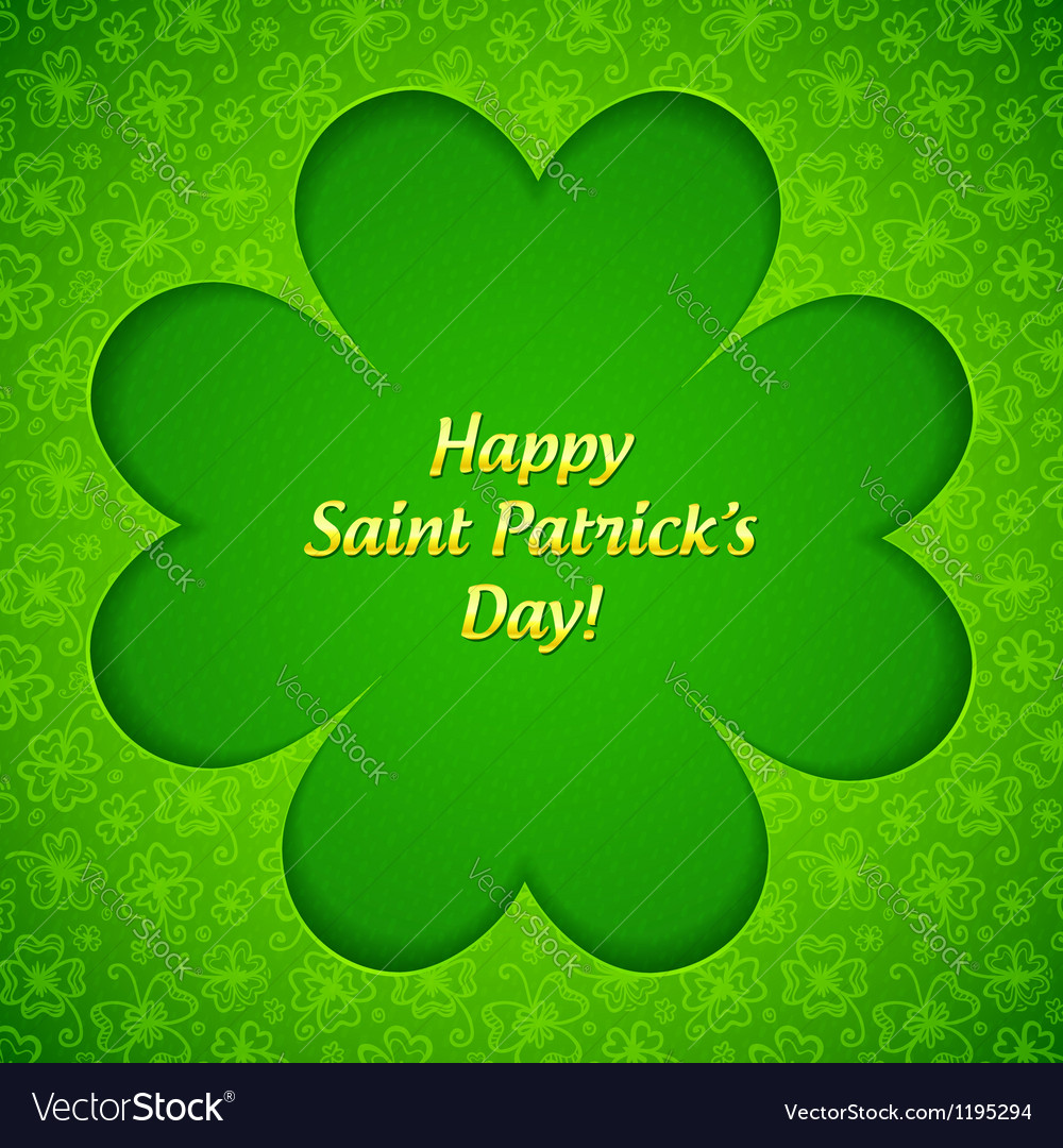 Green cutout clover shape with inner shadow vector image