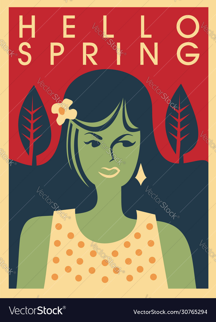 Hello spring trendy banner concept