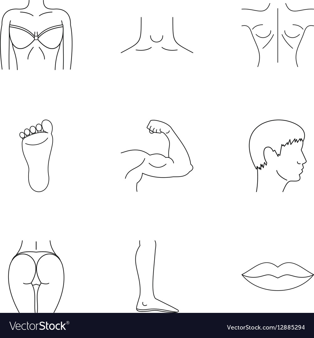 Human body icons set outline style