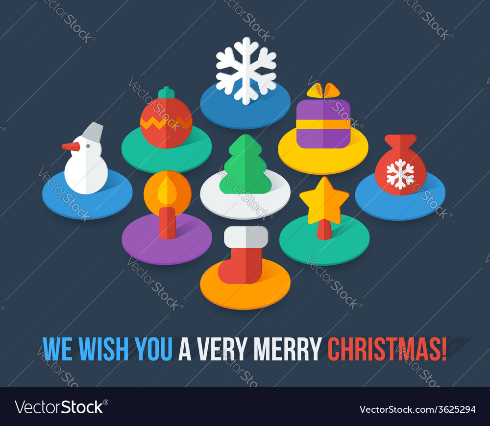 Set of isometric colorful Christmas flat icons
