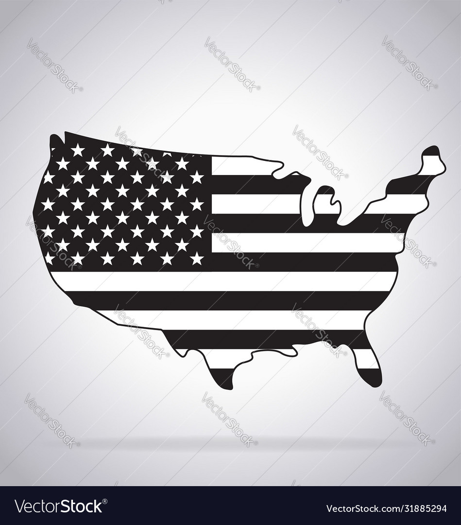 Usa map simplified contoured with flag waving