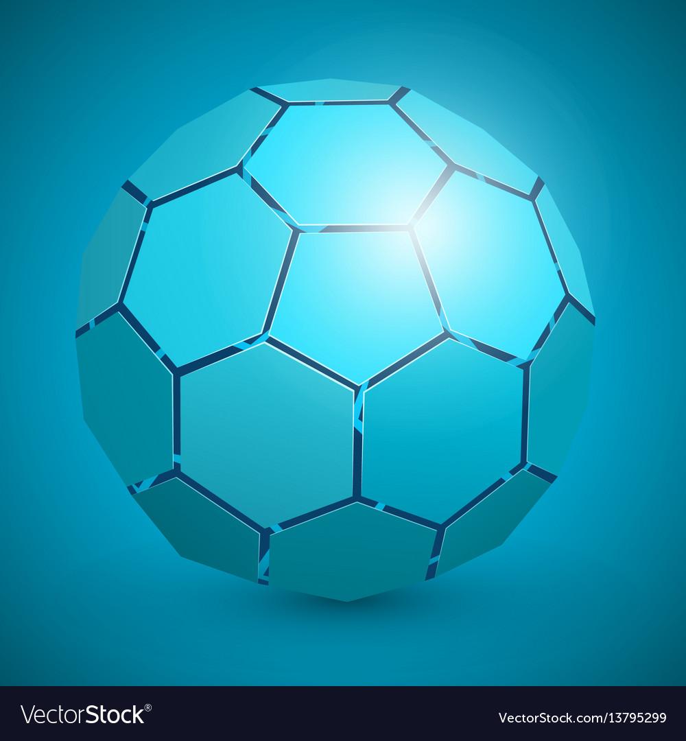 Abstract soccer 3d ball blue