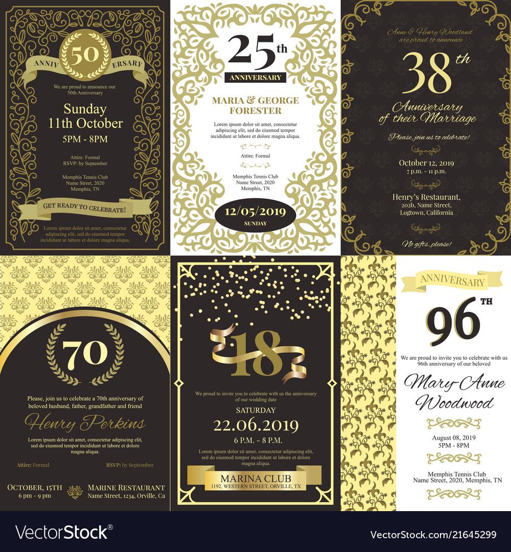 Anniversary invitation card inviting Royalty Free Vector