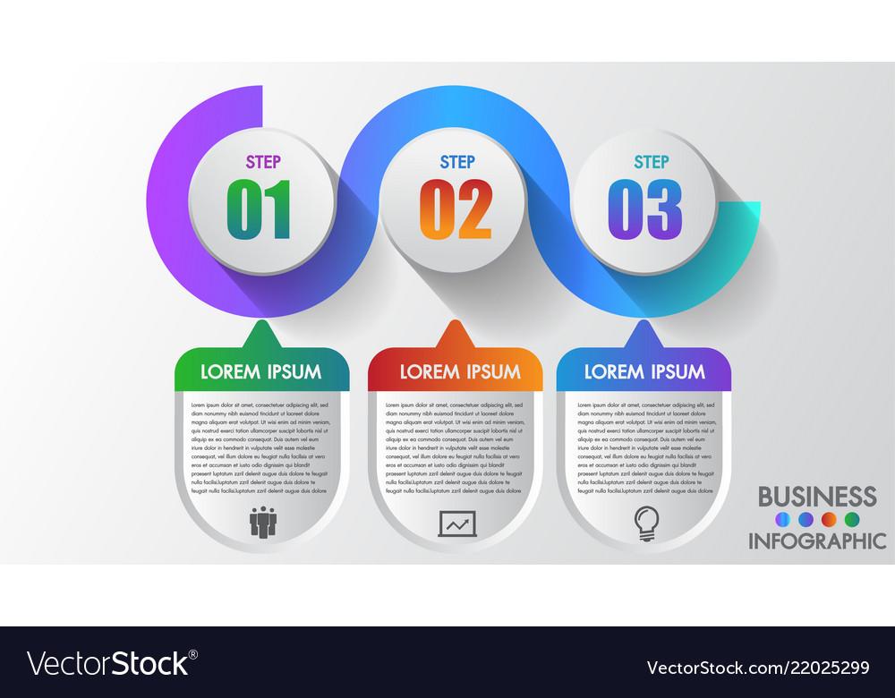 Business infographics 3 steps modern creative