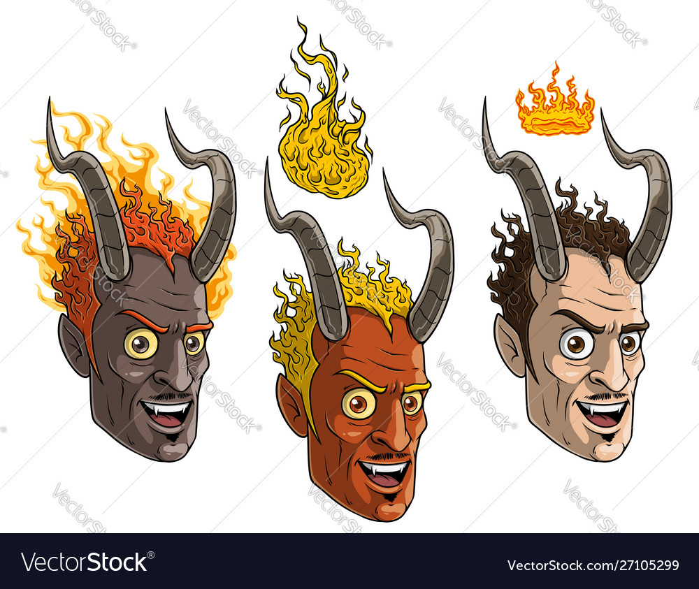 Cartoon burning devil man with horns and crown