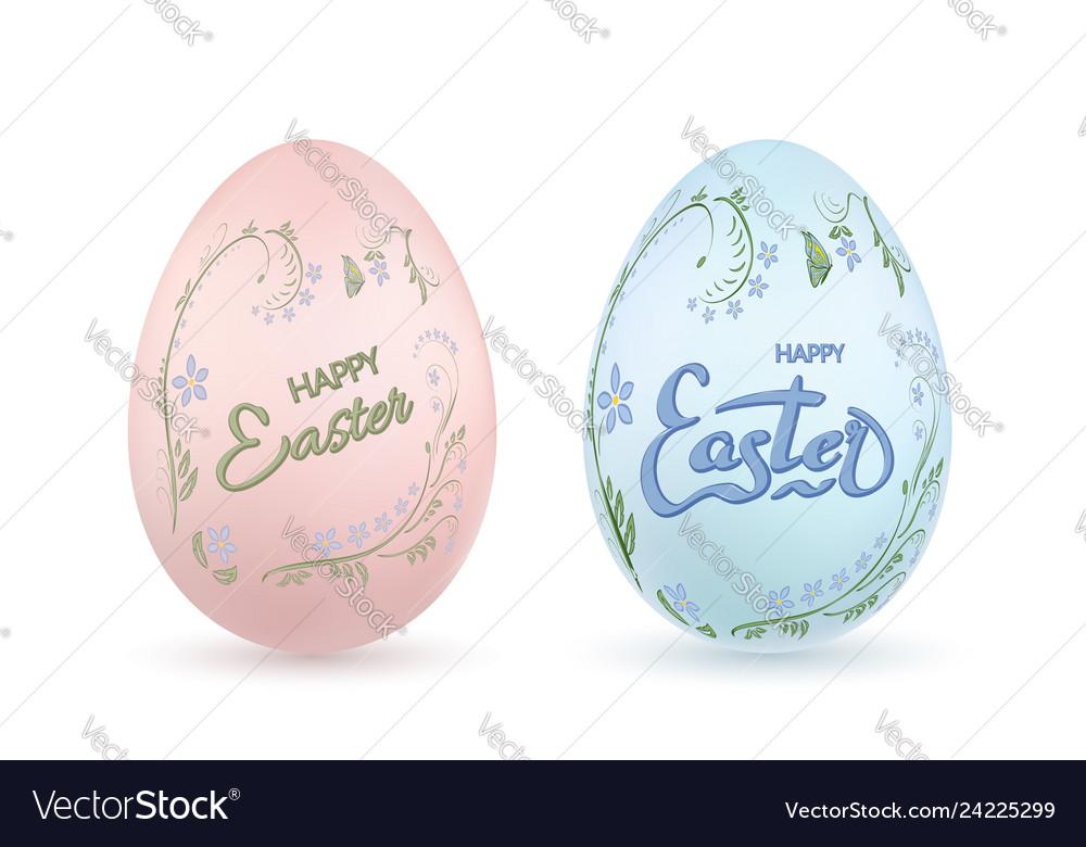 Easter egg 3d icon pastel eggs set lettering