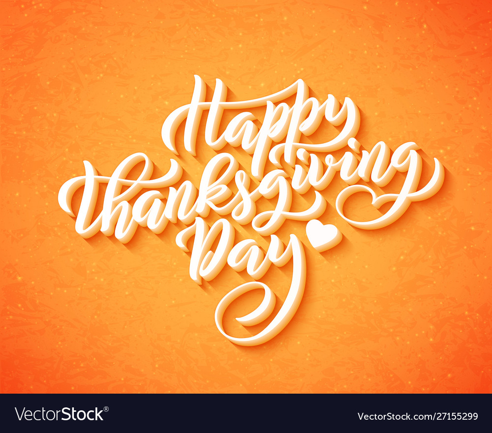 Hand drawn happy thanksgiving day lettering