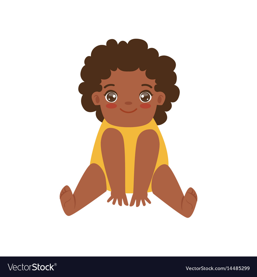 Happy african baby sitting on the floor colorful vector image