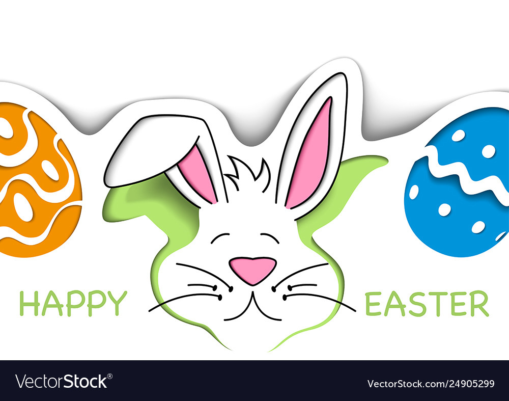 Happy easter greeting card with cute white bunny