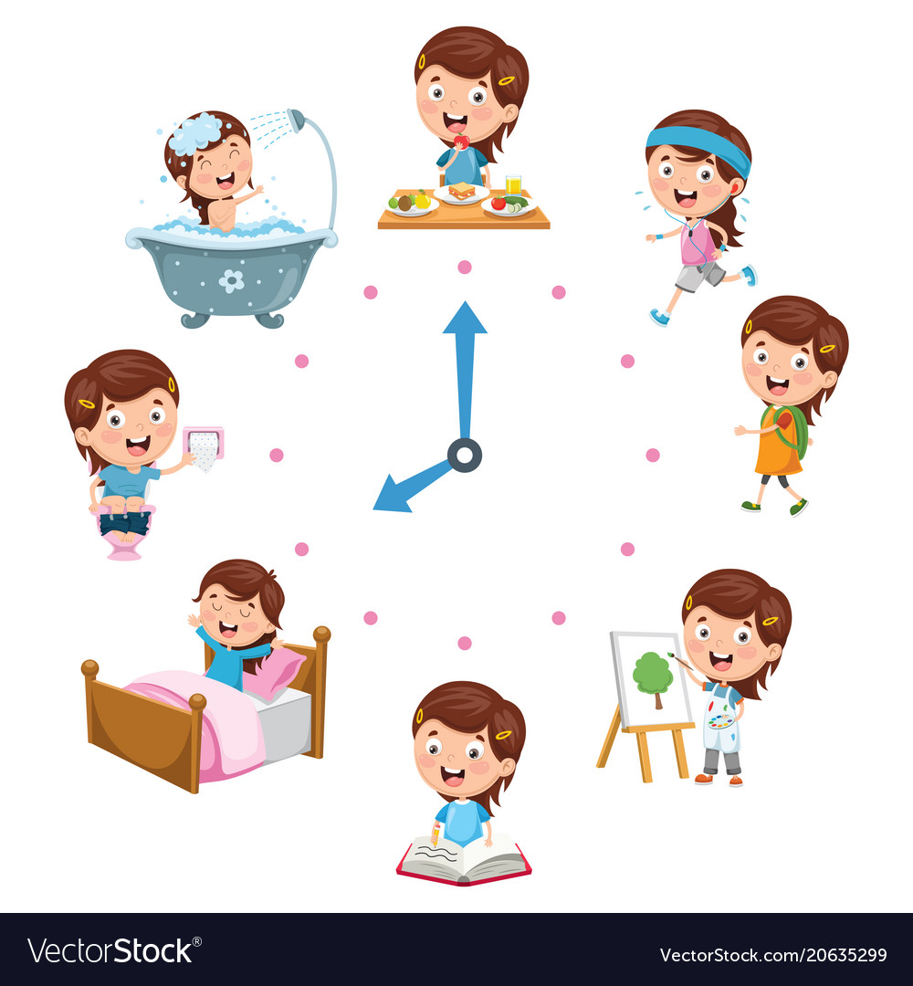Kids daily routine activities Royalty Free Vector Image