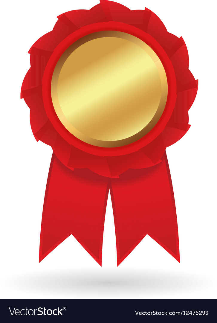 Realistic gold medal or award with red vector image