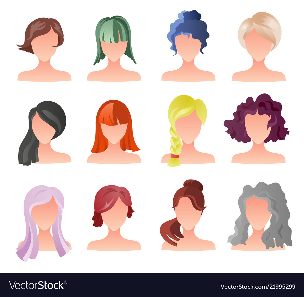 Set of female hair style sprites game
