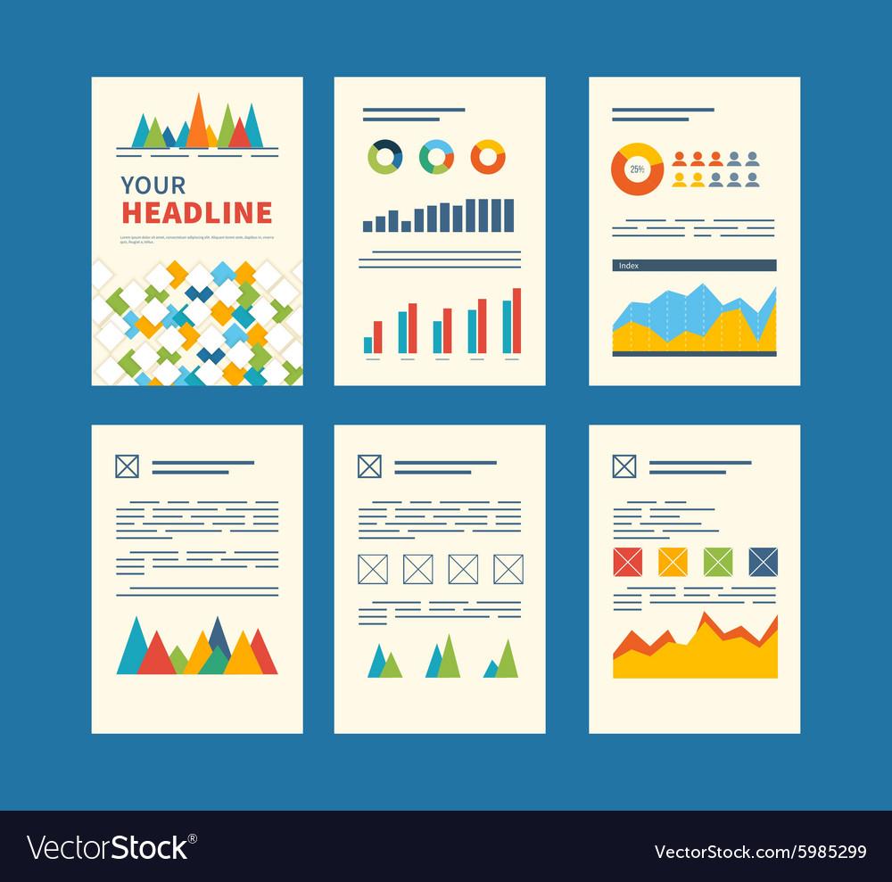 set of flyer brochure design templates financial vector image