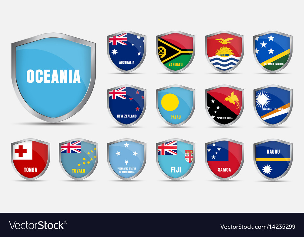 Sheets with the flags of the countries of the vector image