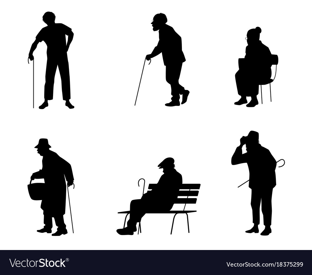 Six silhouettes of older people vector image