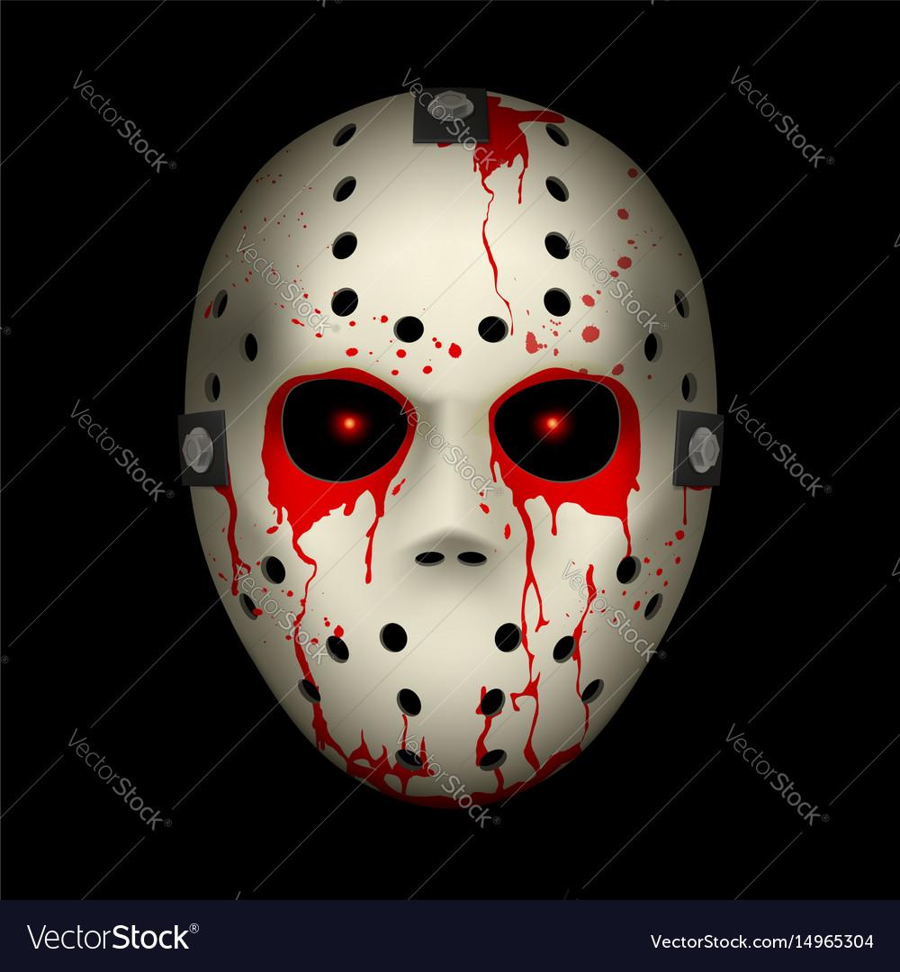 Bloody hockey mask on black background for design