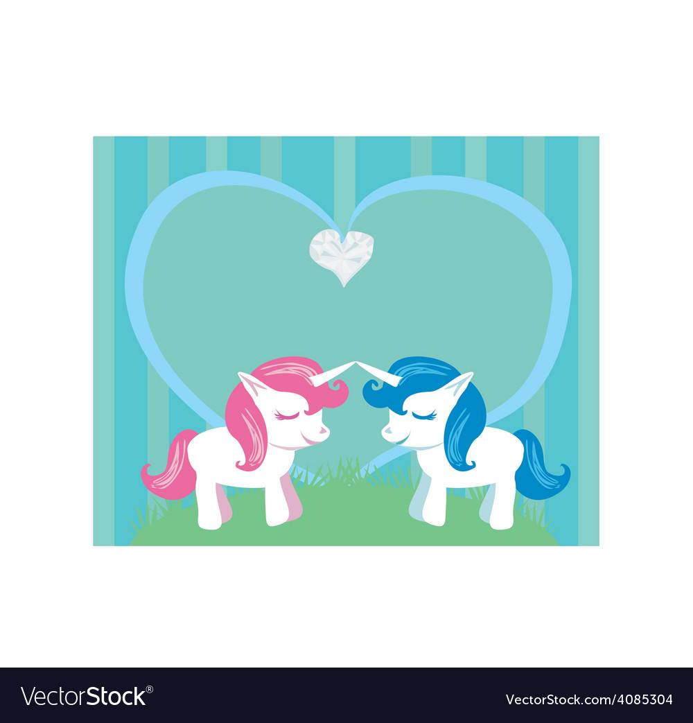 Couple of cartoon unicorns in love vector image