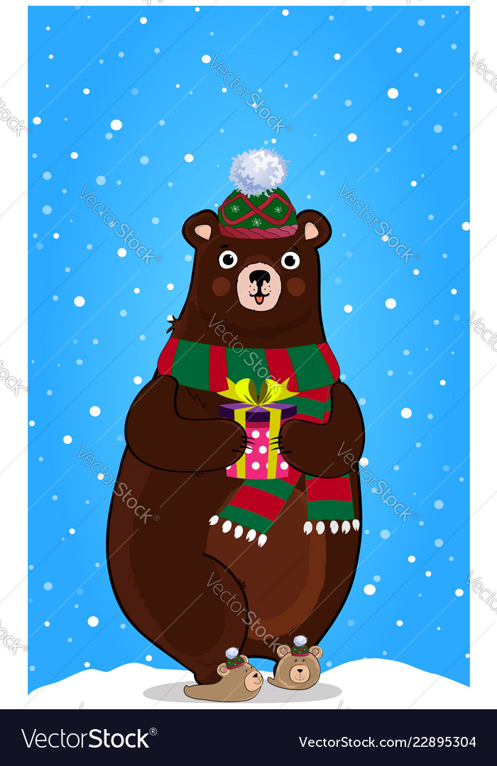 Cute cartoon bear in knitted hat with present in