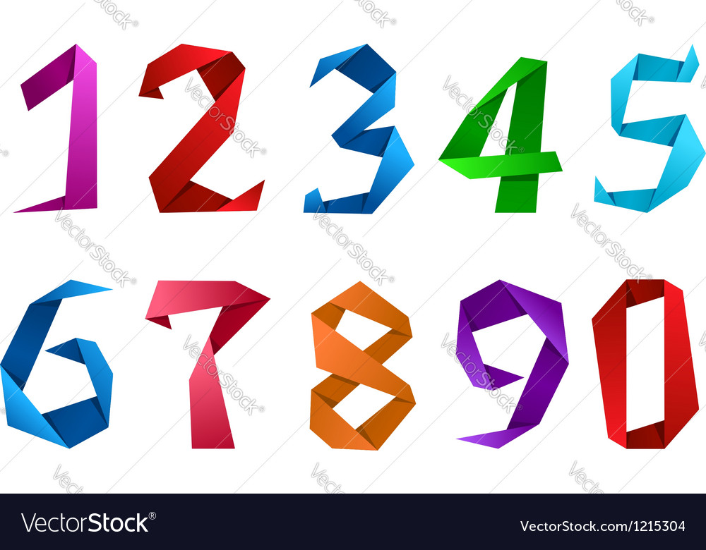 Digits and numbers in origami style