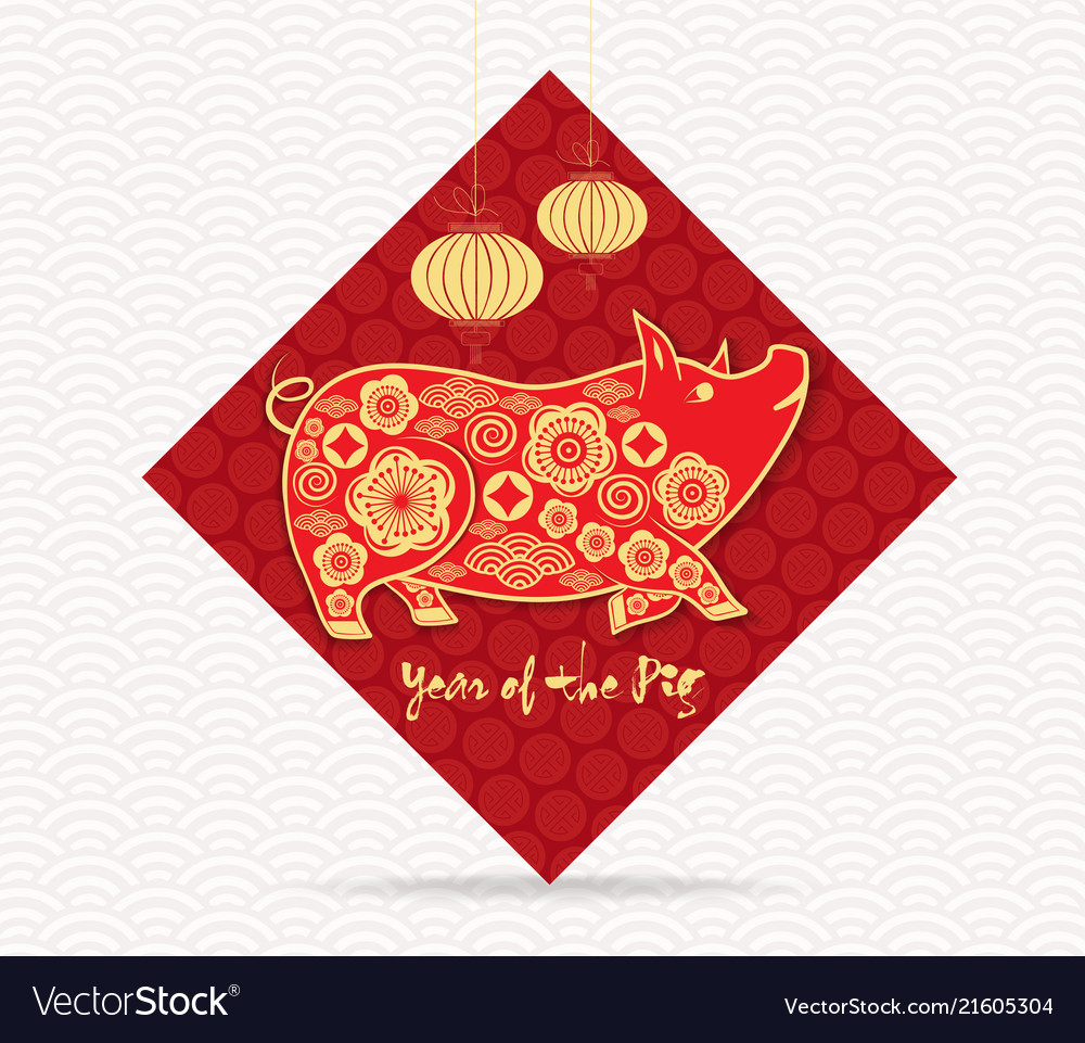 elegant golden chinese new year background with vector image