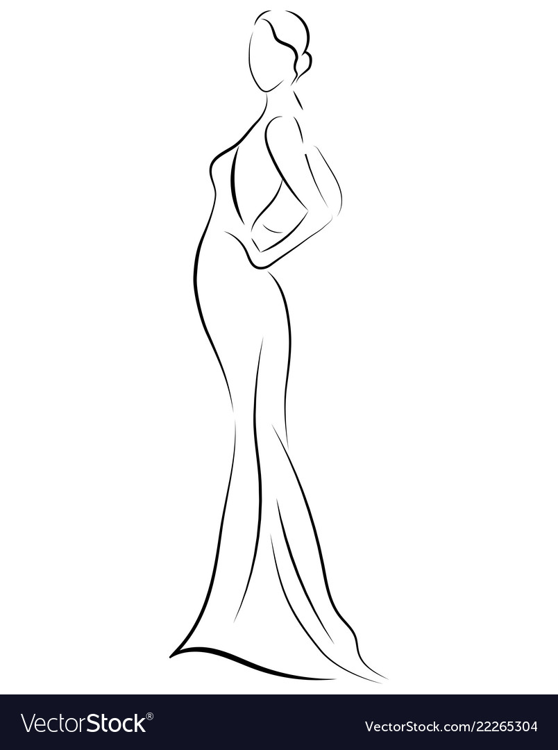 Girl in a dress linear outlines of a female