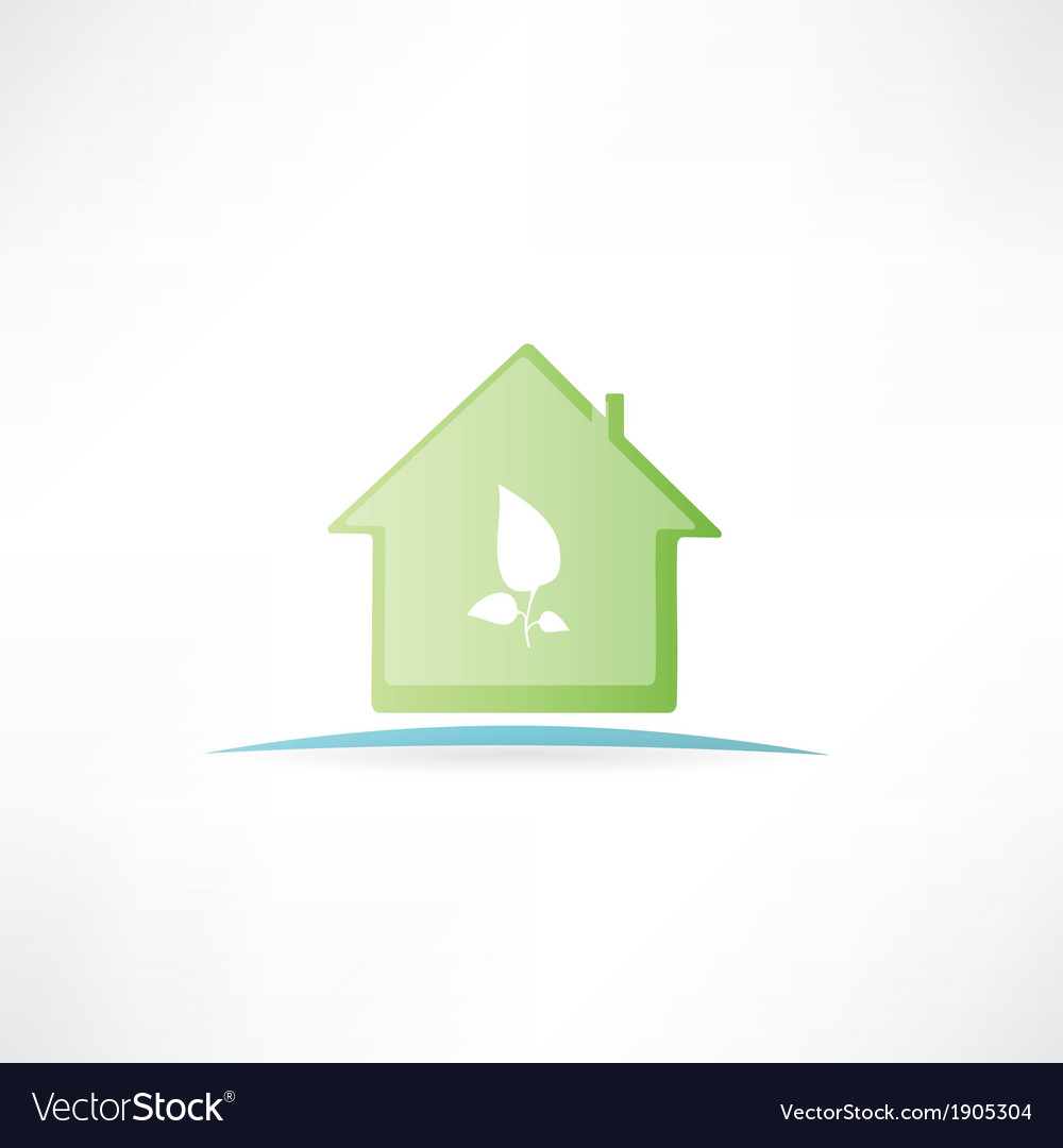 House with a painted leaf on it vector image
