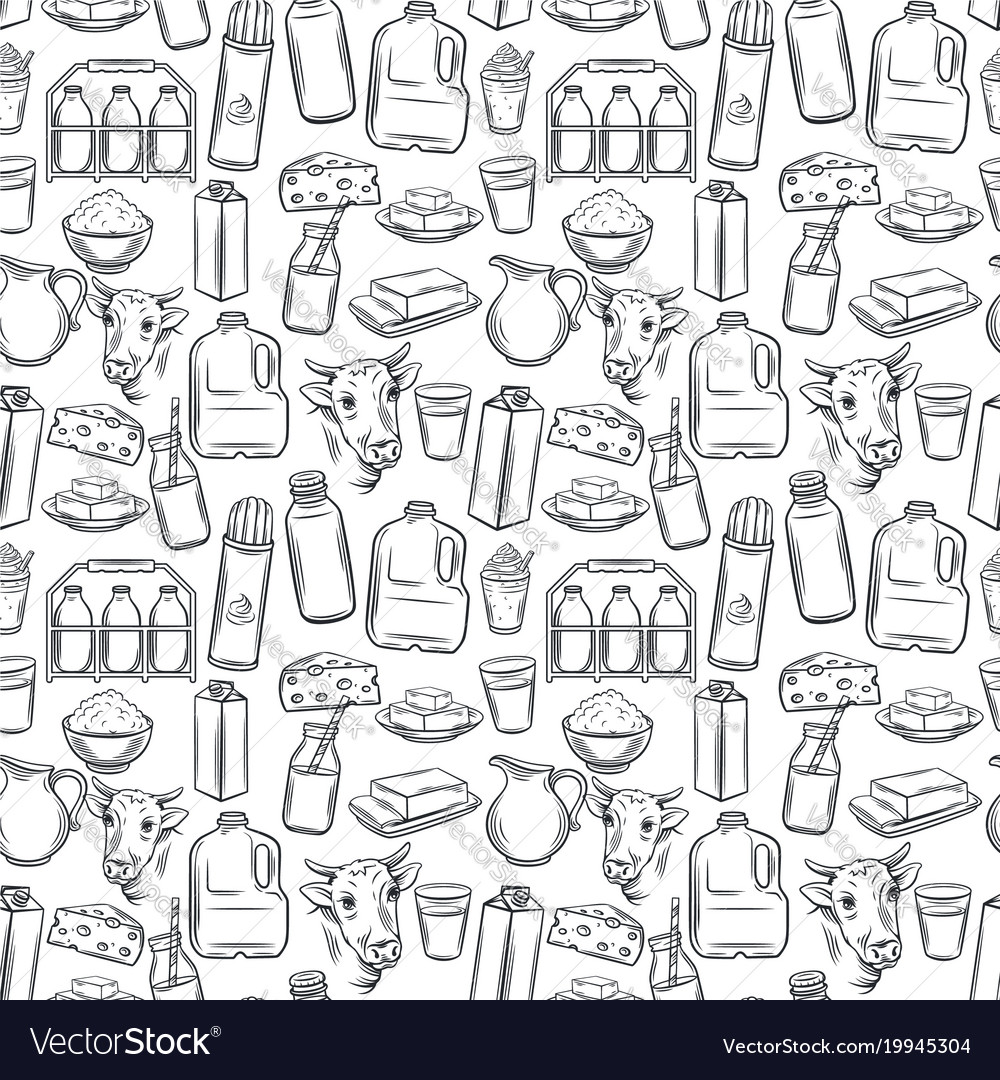 Milk product seamless pattern