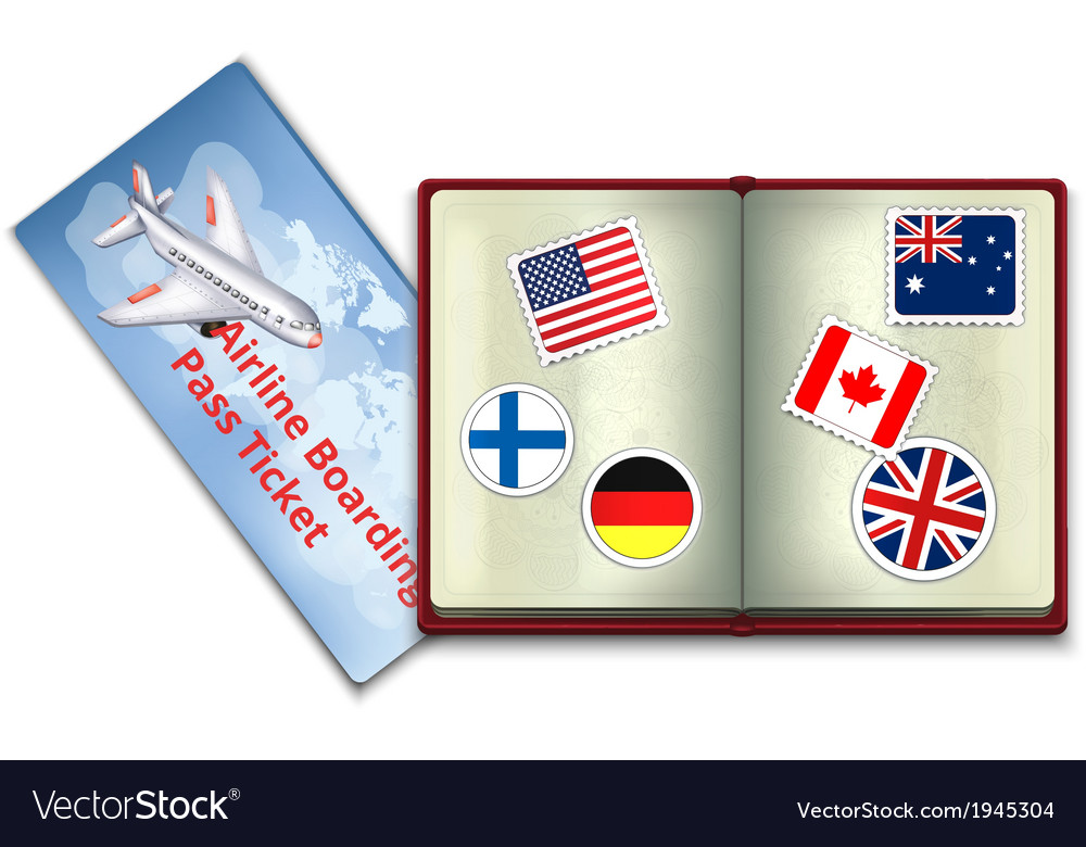 Open Passport and Airline Boarding Pass Ticket