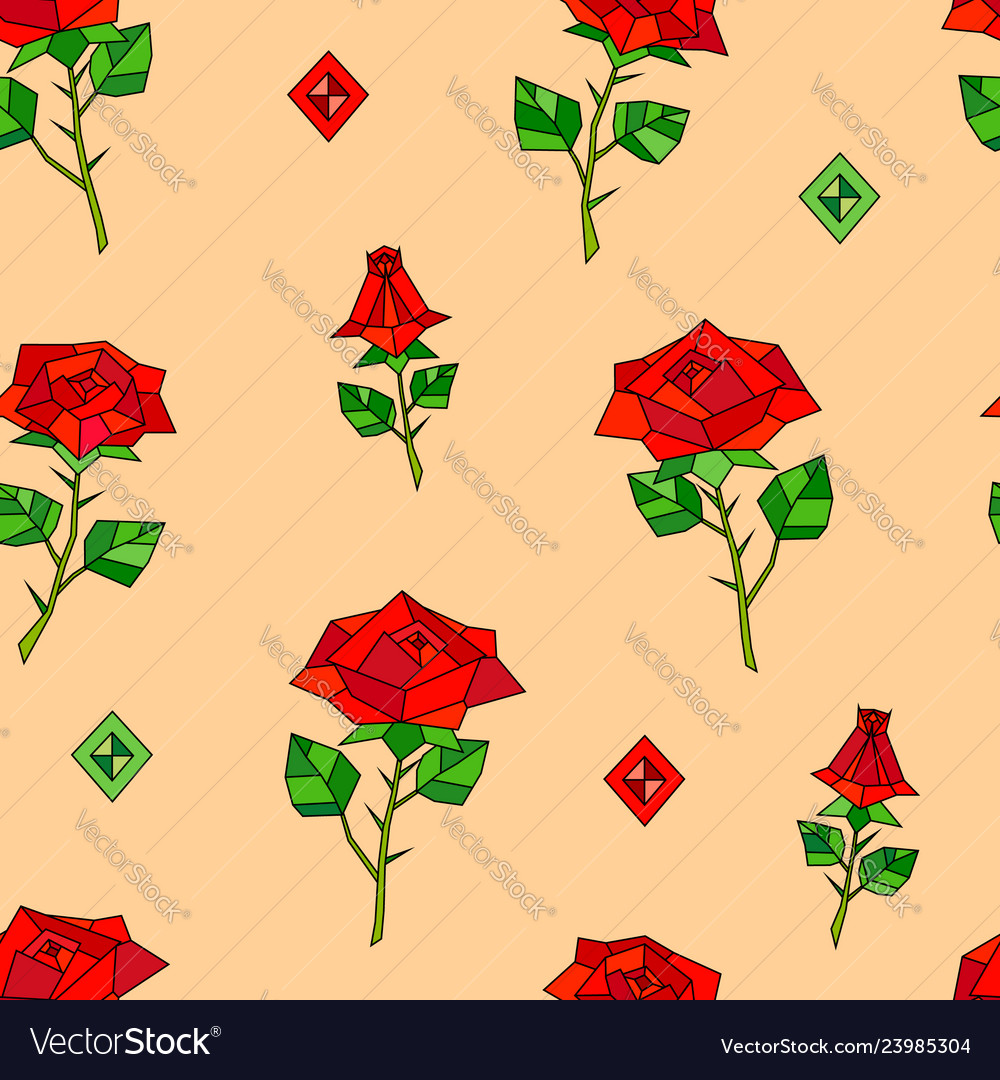 Red abstract origami roses seamless pattern