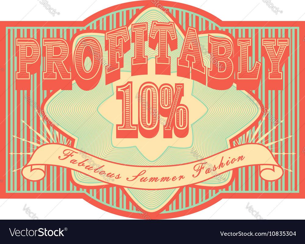 Retro vintage sale label or banner Grunge red and