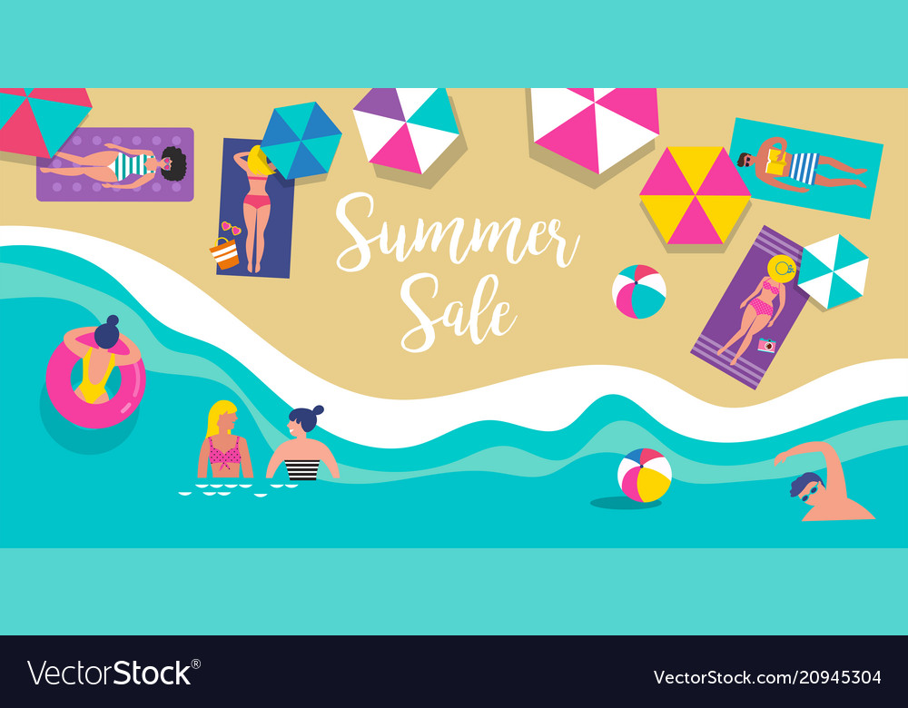 Top view beach background vector image