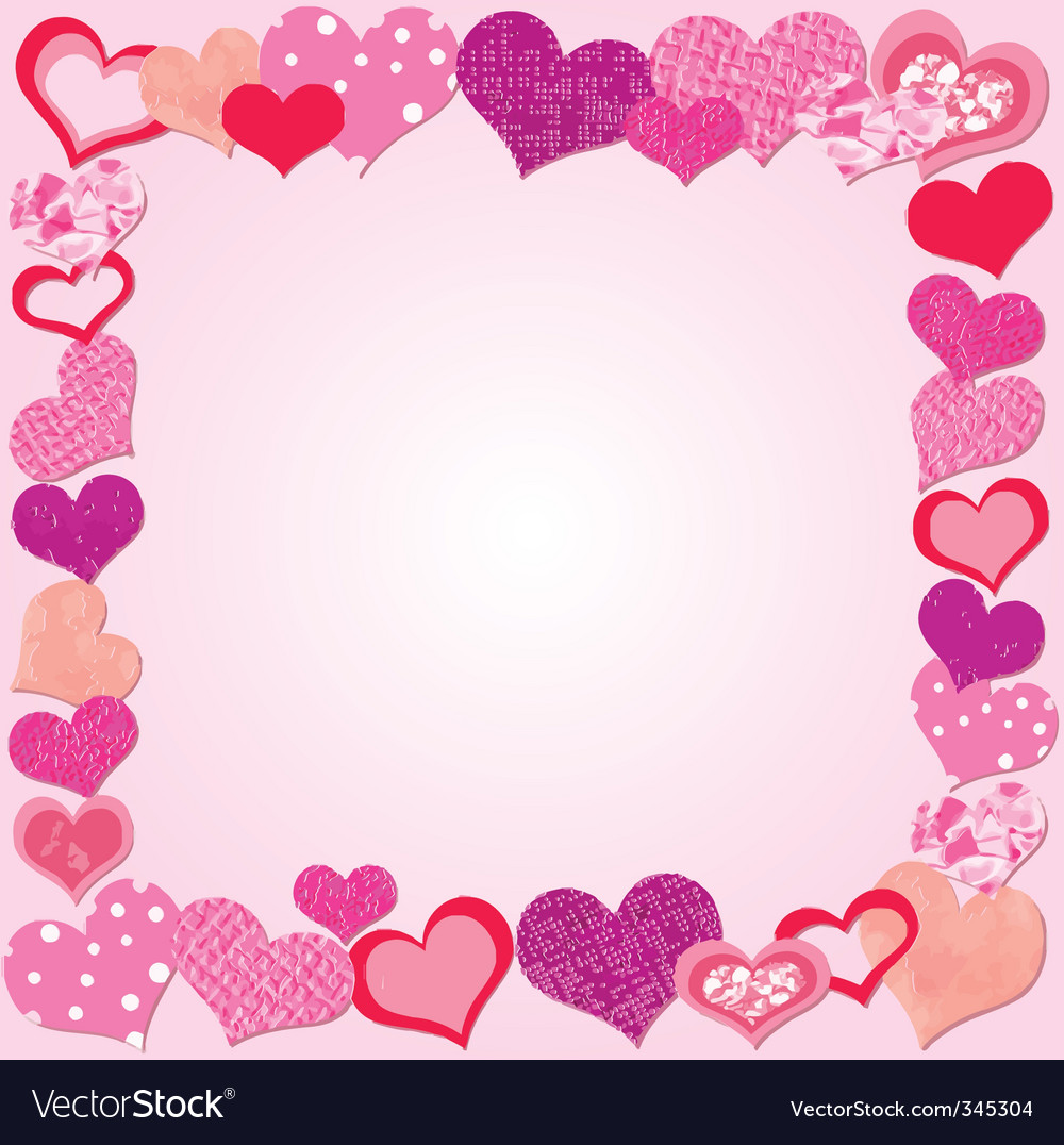 Valentine day pink frame Royalty Free Vector Image