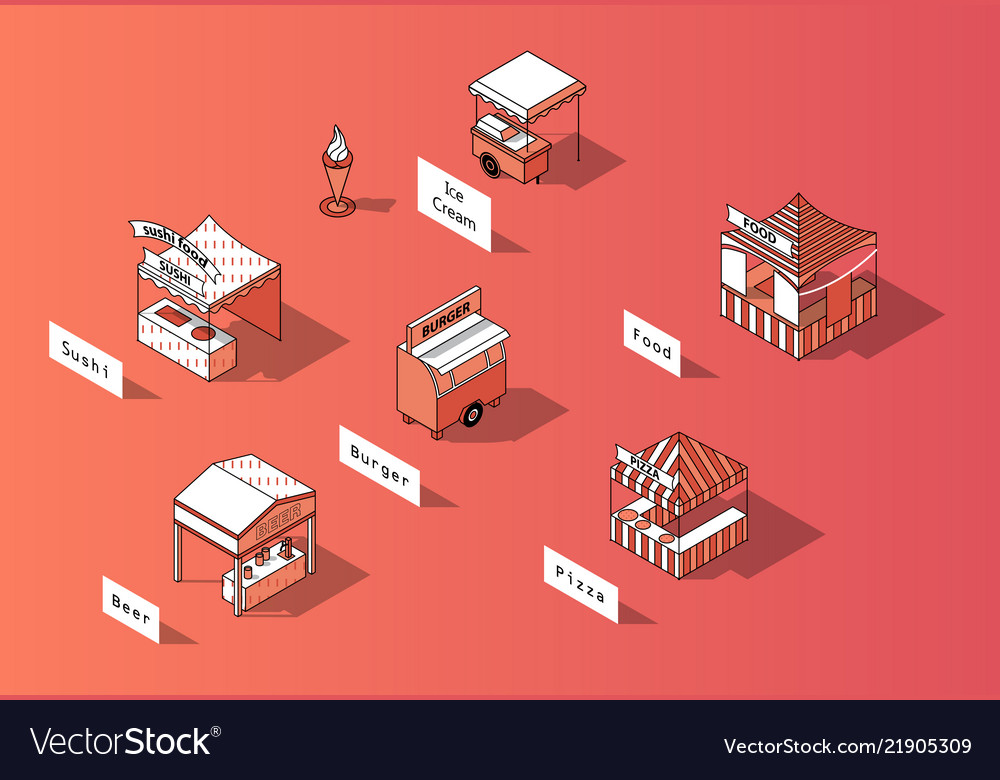 3d isometric food courts urban marketplace