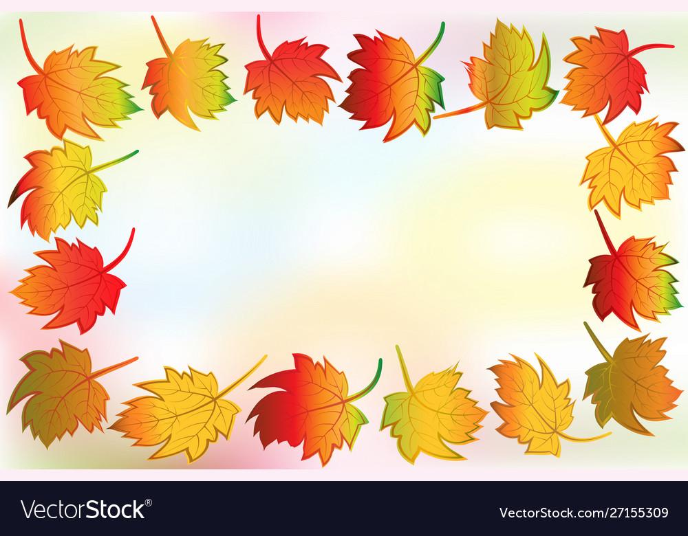 Autumn colorful fall leafs greetings card frame