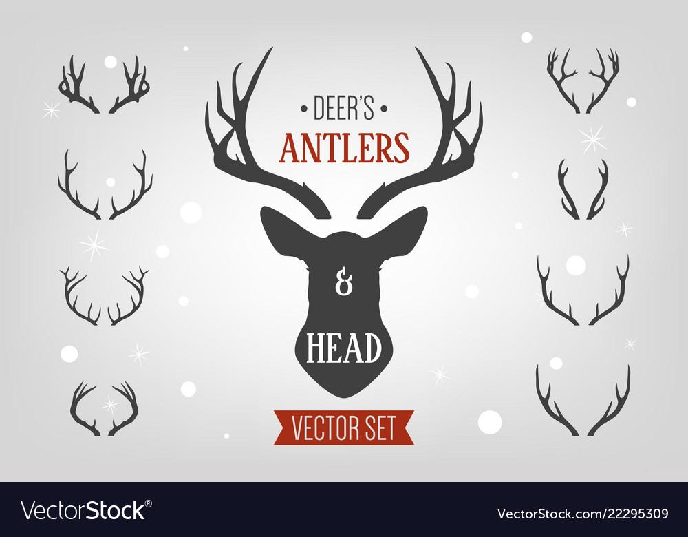 Black silhouette hand drawn deer s horn antler