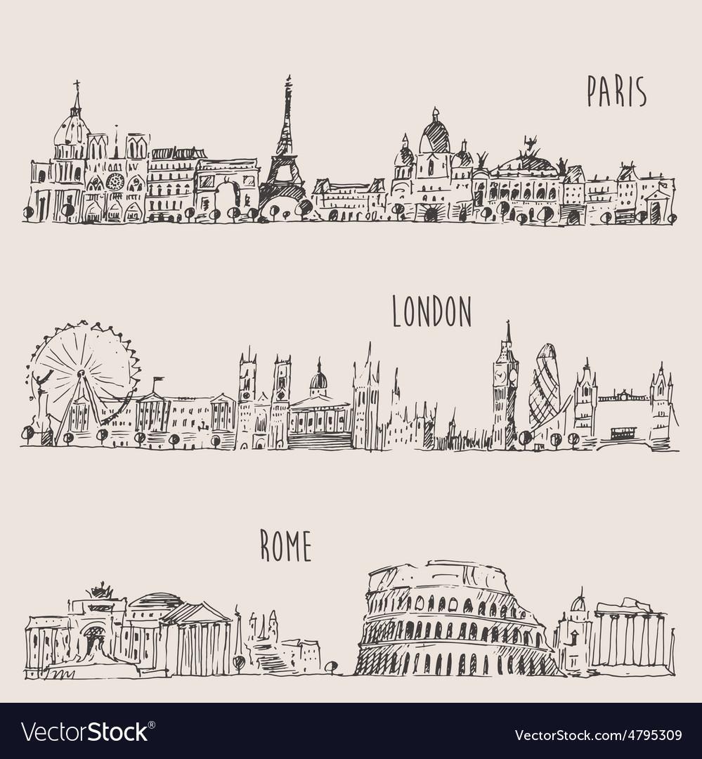 City Set London Paris Rome Engraved vector image